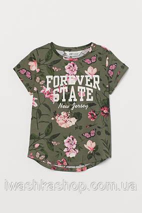 Стильная брендовая футболка хаки с цветами и надписью на девочку 10 - 12 лет, р. 146 - 152, H&M