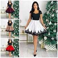 Нарядное женское платье мини в стиле беби долл отделка из французского кружева 4 цвета С М Л Хл, фото 1