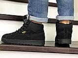 Мужские зимние кроссовки PUMA Suede черные замшевые, фото 3