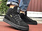 Мужские зимние кроссовки PUMA Suede черные замшевые, фото 5