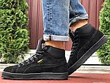 Мужские зимние кроссовки PUMA Suede черные замшевые, фото 4