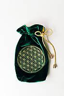 Мешочек для карт Таро знак Цветок Жизни 20х10см тёмно-зелёный