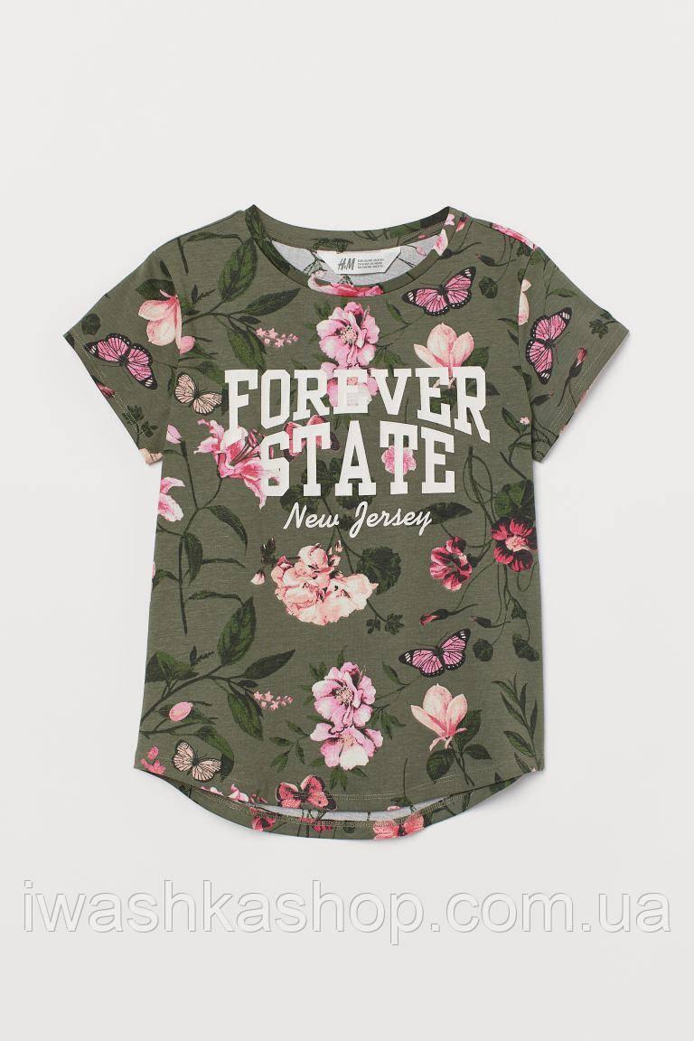 Брендовая футболка цвета хаки с цветами и надписью на девочку 12 - 14 лет, р. 158 - 164, H&M