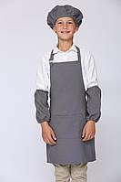 Фартук для уроков труда с беретом 11-18 лет габардин серый