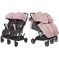 Коляска прогулочная для двойни Carrello Presto Duo CRL-5506 Cherry Pink с дождевиком