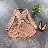 Расклешенное блестящее женское платье из люрекса, фото 1
