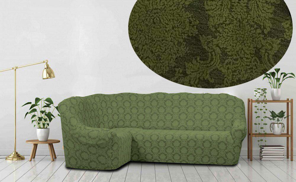 Жакардовий чохол на кутовий диван бордового кольору