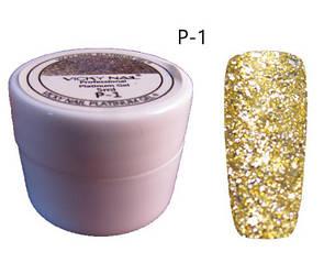 Глиттерный гель VICKI NAIL (гель блестки) светлое золото