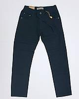 Темно-синие котоновые брюки для мальчика на резинке в школу