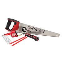 Набор инструмента столярный 6ед. (ножовка, нож, карандаши, рулетка, угольник) Intertool HT—3157