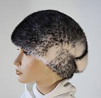 Норковая зимняя меховая женская шапка крестовка