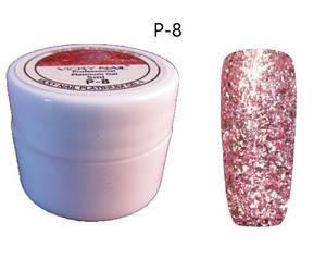 Глиттерный гель VICKI NAIL (гель блестки) бледно розовый