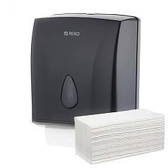 Диспенсер листовых бумажных полотенец V и ZZ сложения Rixo Maggio P228B черный пластиковый антивандальный