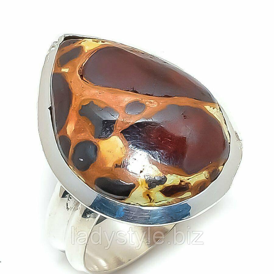 Серебряное кольцо с  яшмой бокситом , размер 18
