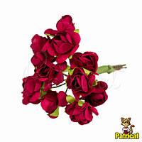 Бордовые розы 1,5 см из бумаги на проволоке 12 шт/уп
