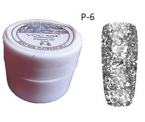 Глиттерный гель VICKI NAIL (гель блестки) серебро