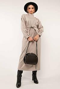 Теплое платье с поясом с 42 по 56 размер