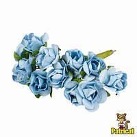 Розы Голубые 1,5 см из бумаги на проволоке 12 шт/уп