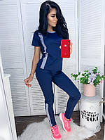 Женский спортивный костюм футболка и лосины с полоской, фото 1