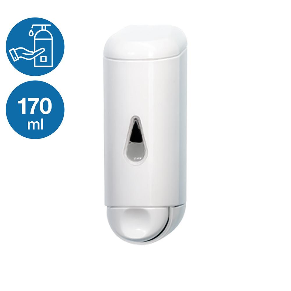 Дозатор раздатчик жидкого мыла шампуня моющего средства 170 мл с окном белый пластиковый нажимной подвесной