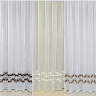 Готовая турецкая тюль батист на окна цвет белый, молочный(обработка сторон + 40 грн), фото 1