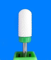 Насадка-фреза керамическая закругленный цилиндр , зеленая средняя зернистость