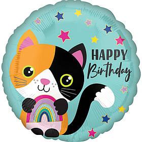 """Кулька 18"""" круг фольгована """"Happy Birthday, котик, звірята"""" малюнок УП шт."""