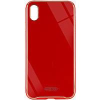 "TPU+Glass чехол Venezia для Apple iPhone XS Max (6.5"") Красный / Red, фото 1"