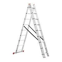 Лестница алюминиевая 3—х секционная универсальная раскладная 3x9ступ. 5.93м Intertool LT—0309