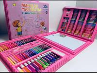 Набор РОЗОВЫЙ для детского творчества в чемодане из 208 предметов ART-3667