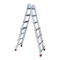 Лестница алюминиевая универсальная раскладная телескопическая 4x4 ступ. 4.20м Intertool LT—2044, фото 1