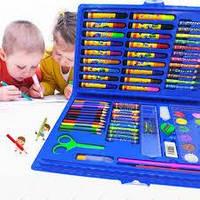 Набор для детского творчества в чемодане из 86 предметов синий EL-1095