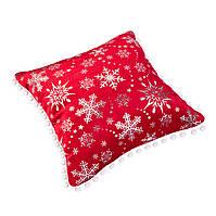 Подушка, в которую можно спрятать подарок. Велюр красный
