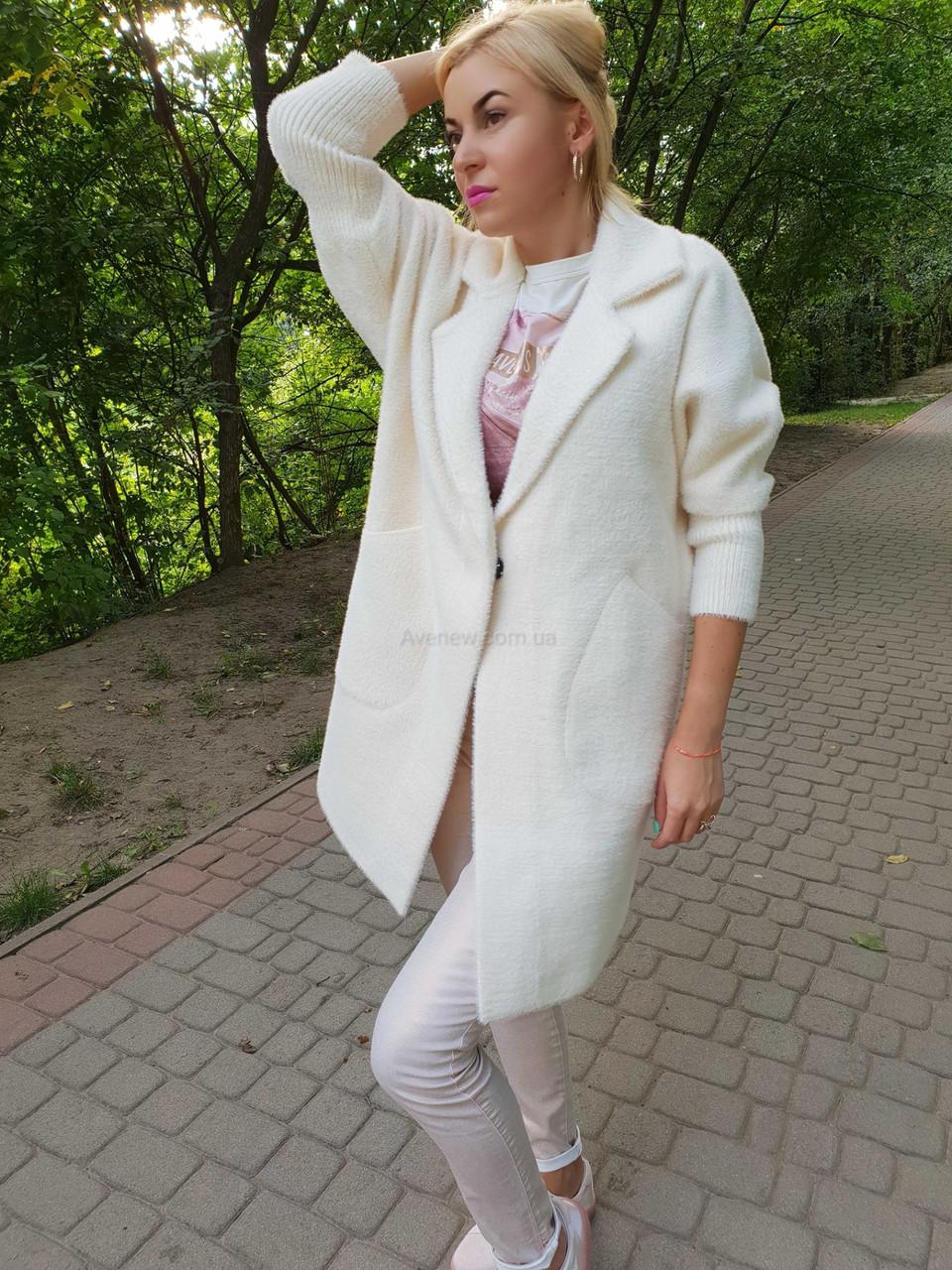 Біле пальто-кардиган з вовни альпаки