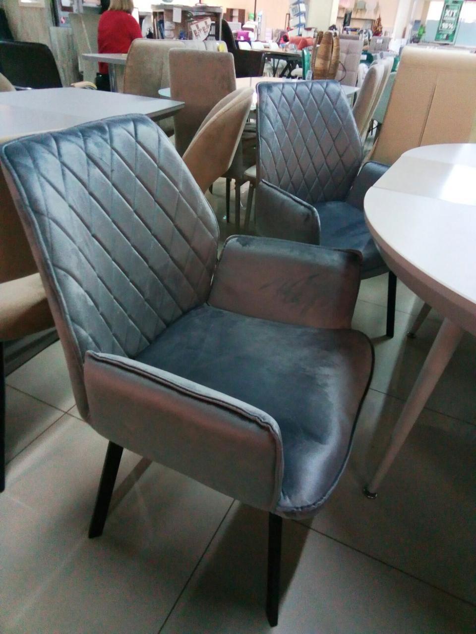 Кресло обеденное Moris Морис серый велюр + черный металл