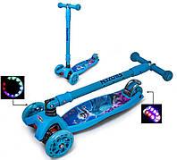 Самокат детский трехколесный Maxi Disney - Детские самокаты со складной ручкой и светящимися колесами