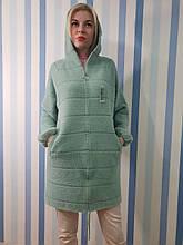 Пальто с капюшоном на молнии из шерсти альпака