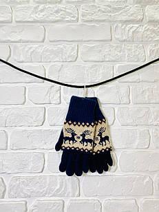 Перчатки из текстиля тачскрин Woman's heel темно-синие (Ш-513)
