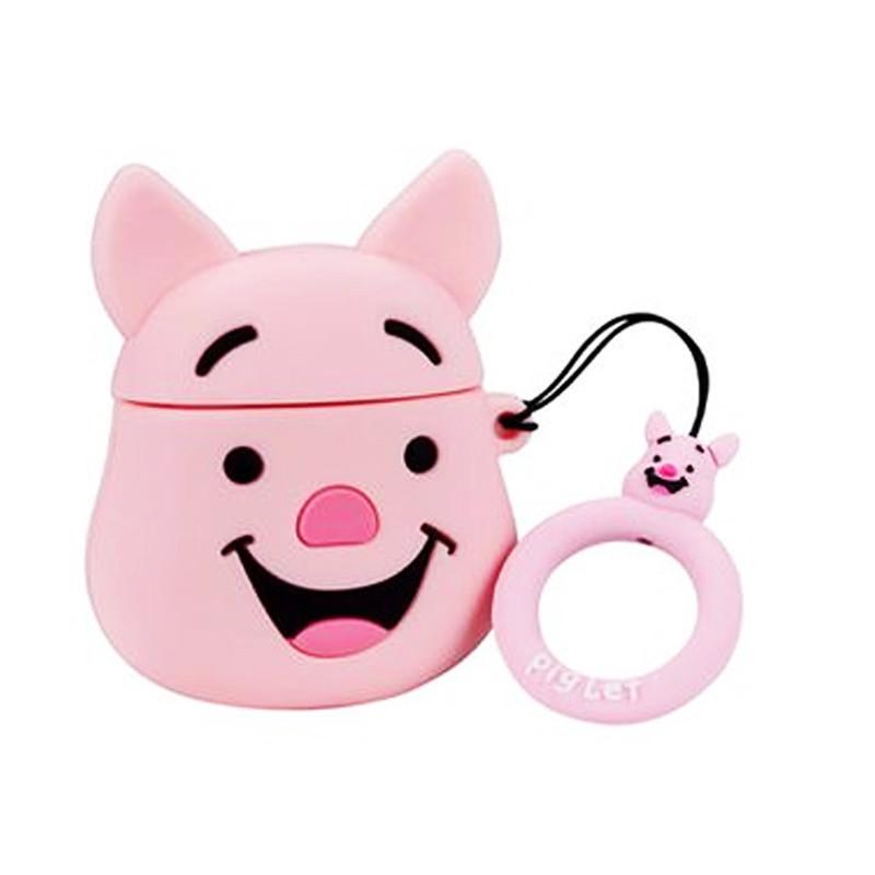 Силиконовый футляр Disney series для наушников AirPods + кольцо Пятачок / Розовый