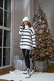 Вязаный свитер в полоску  Оверсайз размер 46-54