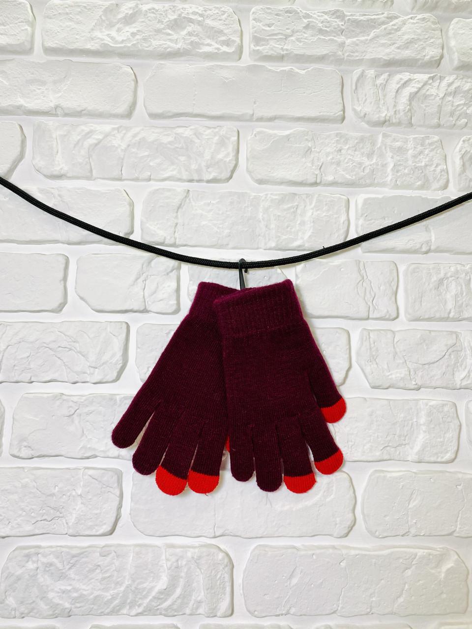 Перчатки из текстиля тачскрин Woman's heel бордовые (Ш-492)