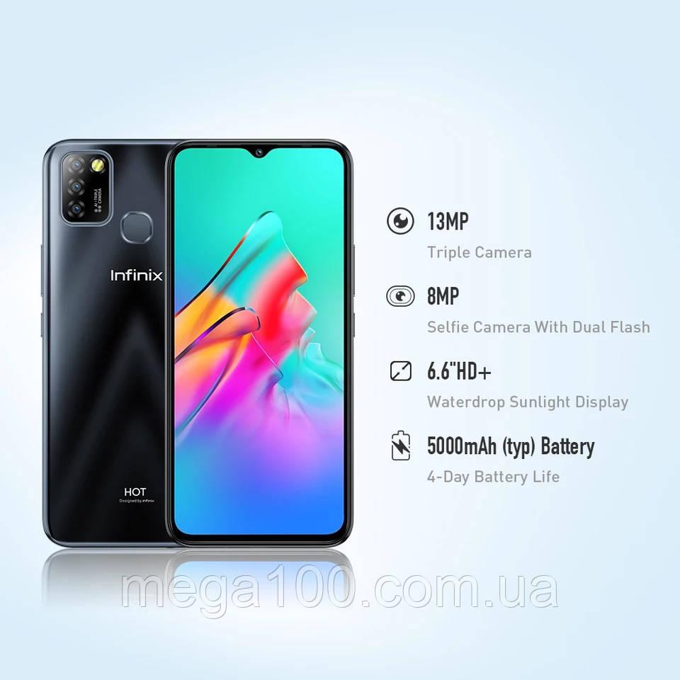 Смартфон Infinix Hot 10 Lite цвет черный (экран 6,6 дюймов, памяти  2\32ГБ ак 5000 мАч) Новинка!
