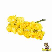 Желтые розы 1,5 см из бумаги на проволоке 12 шт/уп