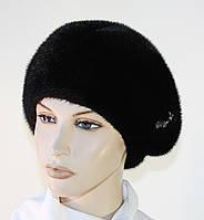 Норковая шапка зимняя женская черная