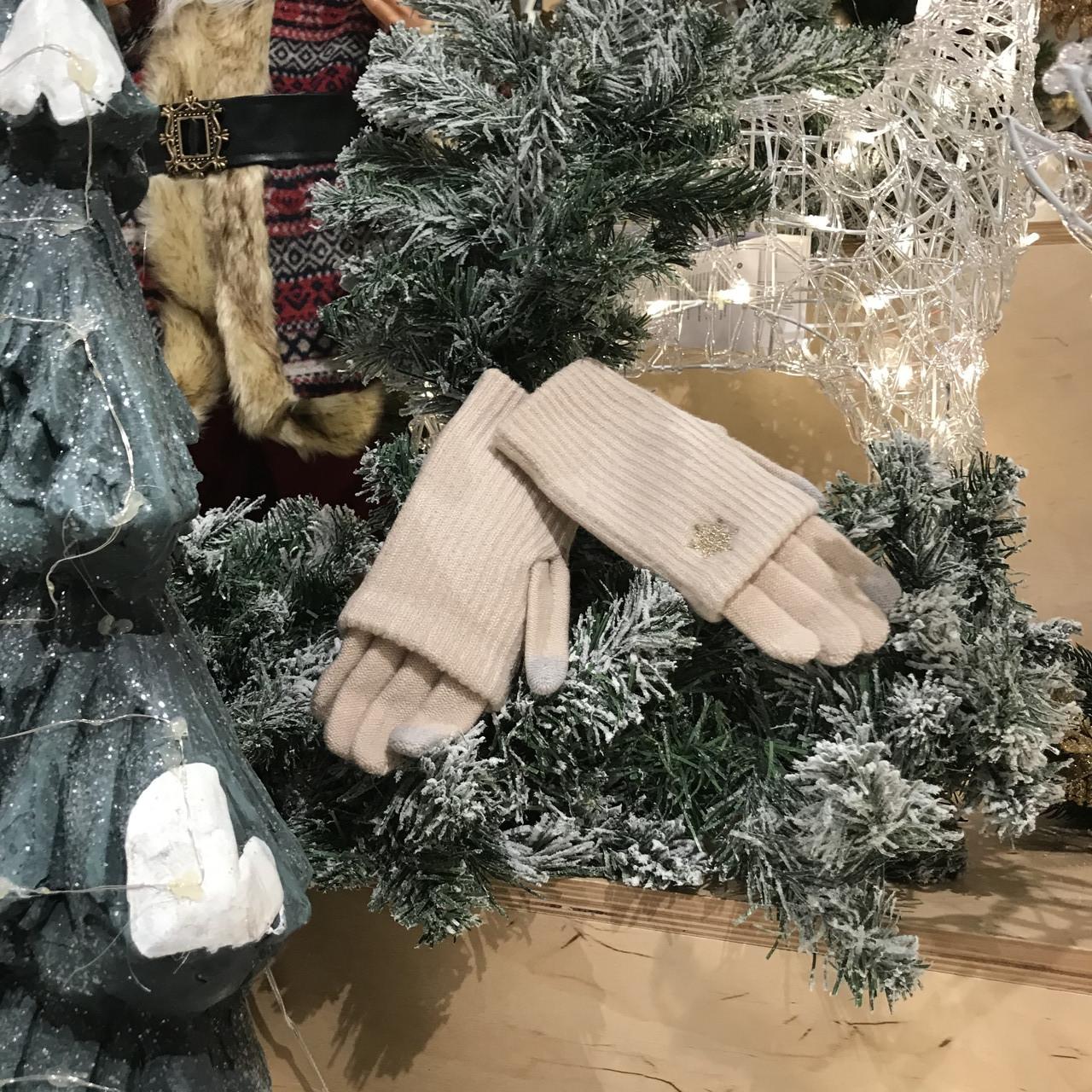 Перчатки из текстиля тачскрин Woman's heel бежевые (Ш-514-2)