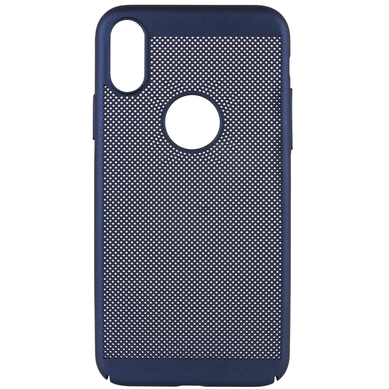 """Ультратонкий дышащий чехол Grid case для iPhone X (5.8"""") / XS (5.8"""") Темно-синий"""