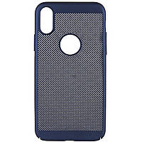 """Ультратонкий дышащий чехол Grid case для iPhone X (5.8"""") / XS (5.8"""") Темно-синий, фото 1"""