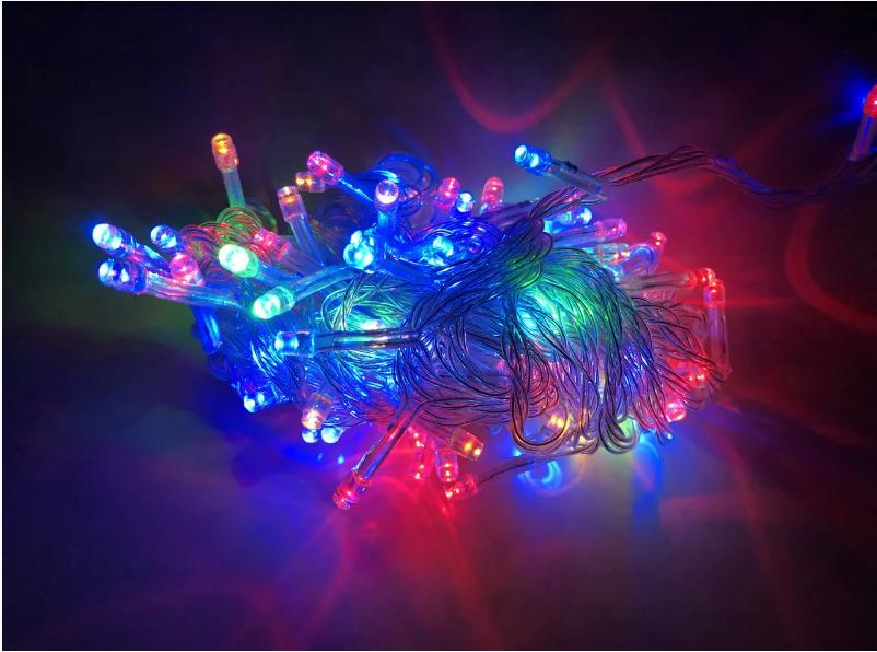 Гирлянда на прозрачном кабеле LED 300 лампочек