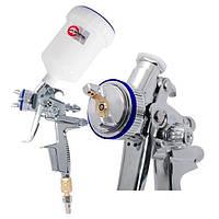 HVLP II Профессиональный краскораспылитель 1,3 мм, верхний пластиковый бачок 600 мл Intertool PT—0105