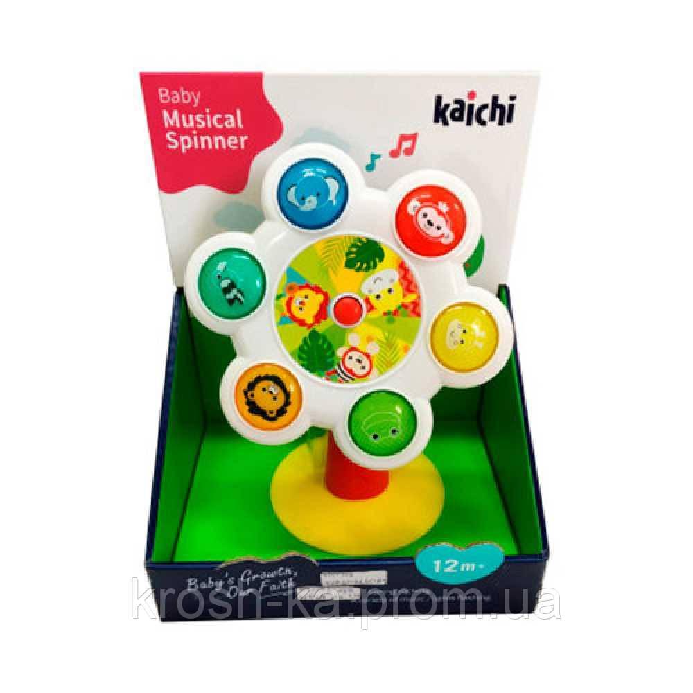 Погремушка Цветочек  музыкальная  на присоске Spinner Kaichi Китай K999-148